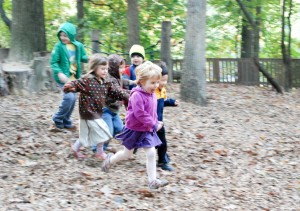 Children running on the Acorn Hill playground